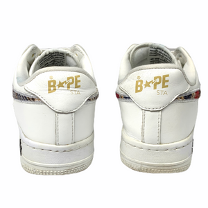 8.5 Bape White Leather Plaid Sta