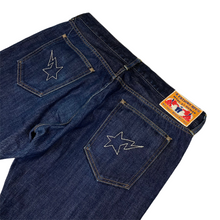 "Load image into Gallery viewer, L 34"" x 32"" Bape Double White Star Stitched Denim"