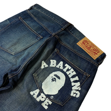 "Load image into Gallery viewer, XL 36"" x 34"" Bape Pocket College Logo Distressed Denim"