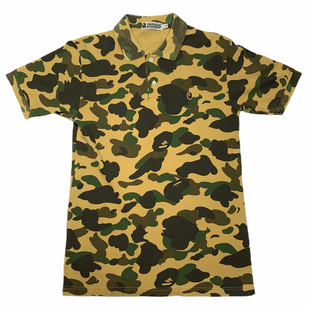 M Bape Yellow Camo Polo Shirt