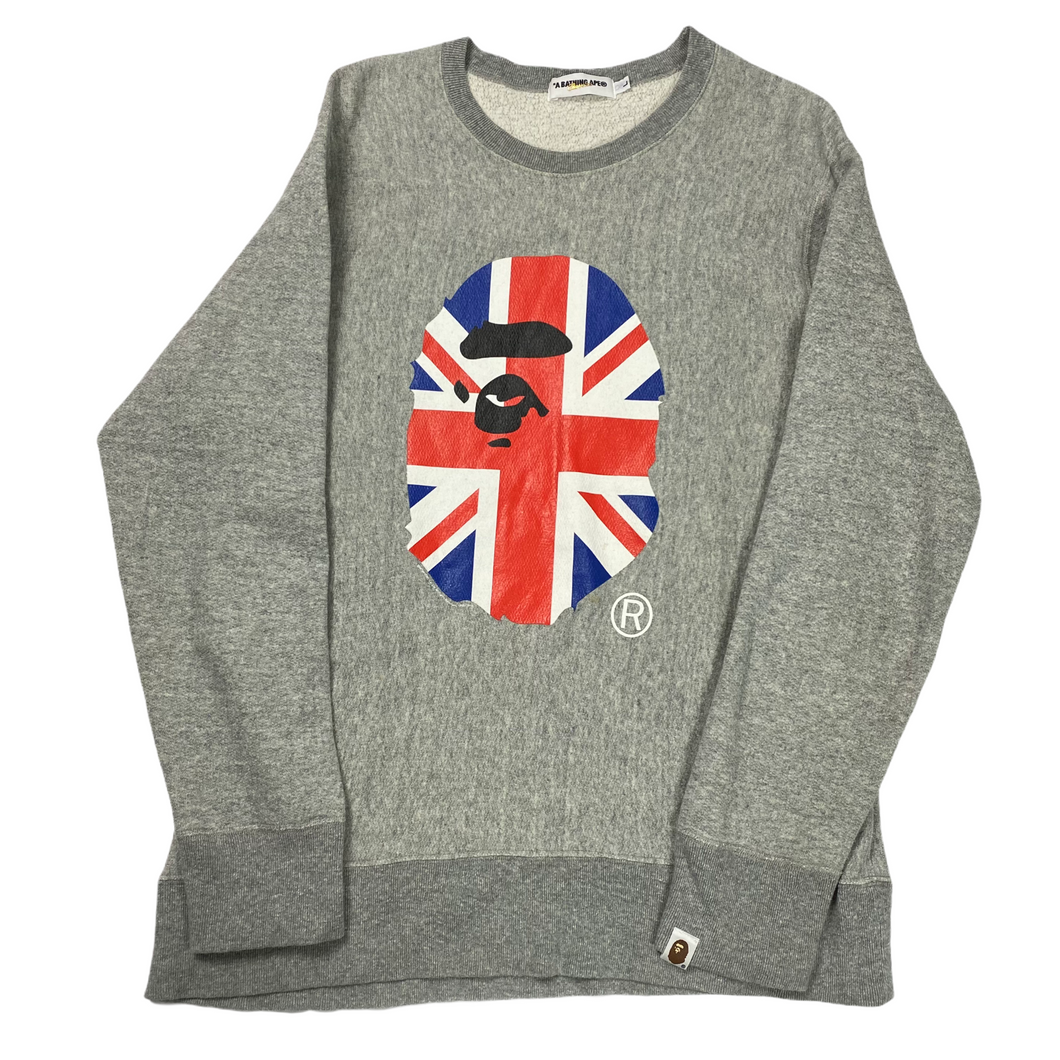 L Bape Union Jack Ape Head Crewneck