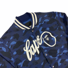 Load image into Gallery viewer, XL Bape Blue Camo Script Stadium Jacket