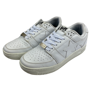 9 Bape Triple White Leather Sta With Box
