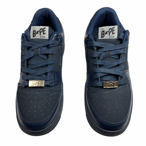 10 Bape Triple Navy Leather Sta