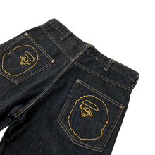 "Load image into Gallery viewer, M 31"" x 32"" Bape Double Ape Head Constrast Stitch Dark Rinse Denim"
