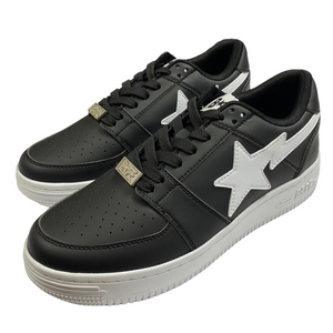 8.5 Brand New Bape Black Leather Sta