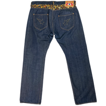 "Load image into Gallery viewer, L Bape 34"" x 32"" Cheetah Double Star Denim Jeans"