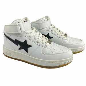 8 Bape Shark Bottom White Leather Sta High With Box