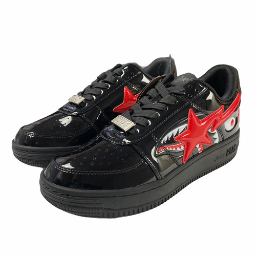 8 Brand New Bape Black Patent Leather Shark Sta With Box