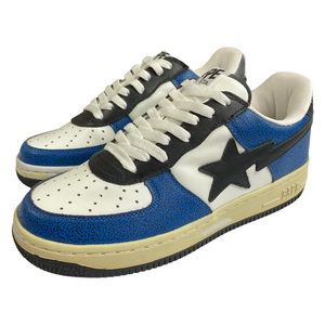 9 Bape Blue Cement Print Leather Sta With Box