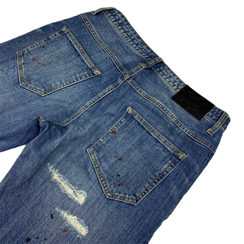 "M 30"" x 32"" Number Nine Paint Splattered Distressed Denim"