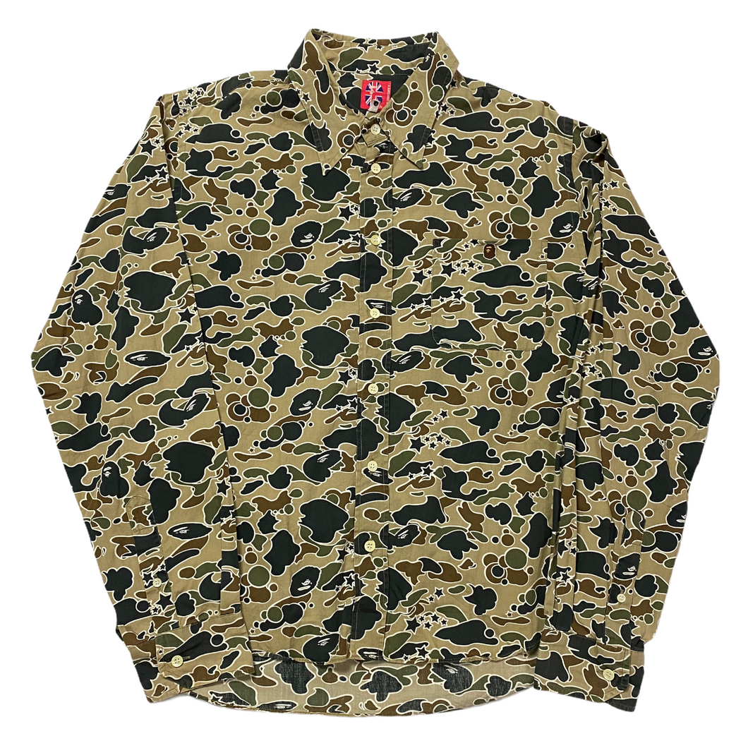 M Bape Psyche Camo Button Up