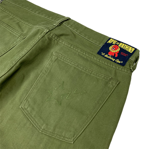 "M 32"" Bape Green Denim Pants"