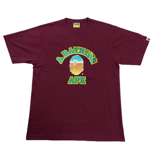Brand New XL Bape Burgundy Glitter College Tee