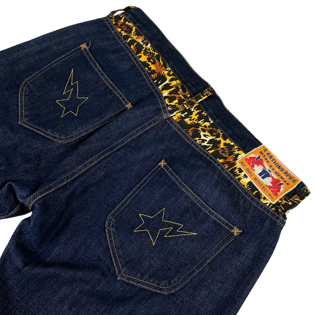 "L Bape 34"" x 32"" Cheetah Double Star Denim Jeans"