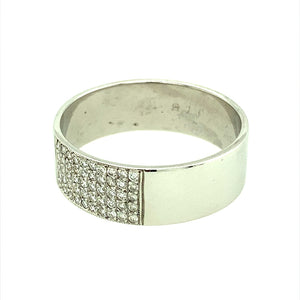 Preowned 9ct White Gold & Diamond Set 8mm wide Band Ring in size Z plus and the weight 6.50 grams