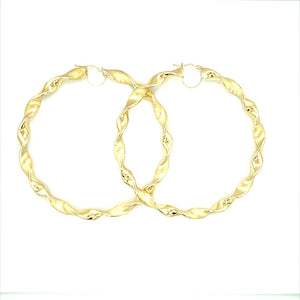 9ct Large Gold Twist Hoops