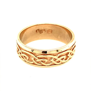 Preowned 9ct Rose Gold Clogau Annwyl Style 7mm Band Ring in size V with the weight 8 grams