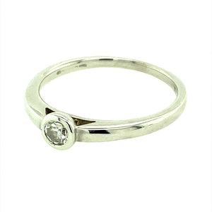 18ct Gold 20pt Diamond Rubover Solitaire Ring