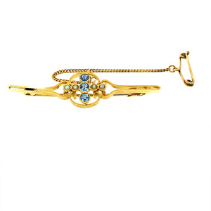 15ct Gold Sapphire & Seed Pearl Set Brooch