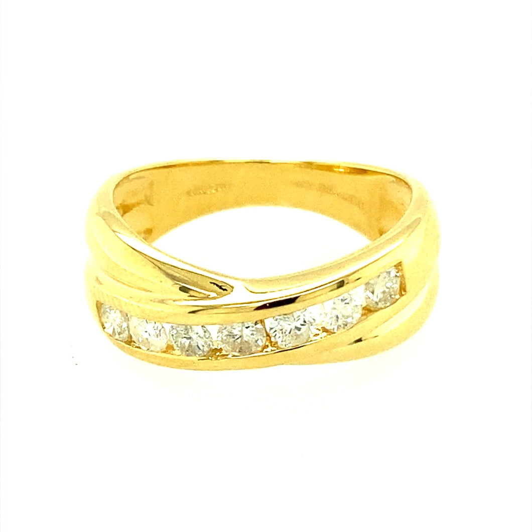 18ct Gold & Diamond Crossover Ring