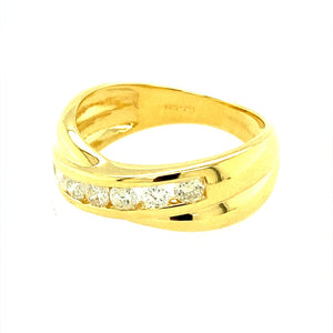 Preowned 18ct Yellow Gold & 50pt Diamond Crossover Ring in size M with the weight 5.30 grams