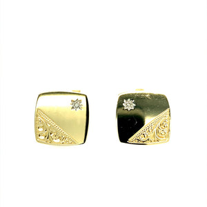 9ct Gold & Diamond Set Cufflinks