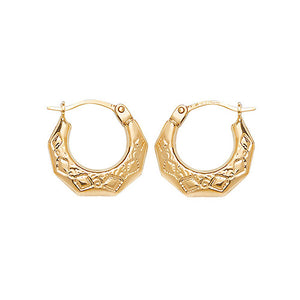 9ct Gold Patterned Creoles Earrings