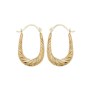 9ct Gold Textured Oval Creoles Earrings