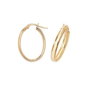 9ct Gold Polished Oval Earrings