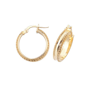 9ct Gold Wide Small Earrings