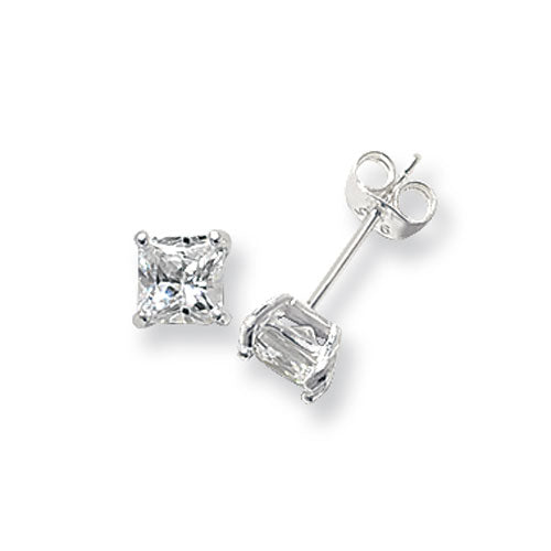 925 Silver 5mm Square Cubic Zirconia Earrings