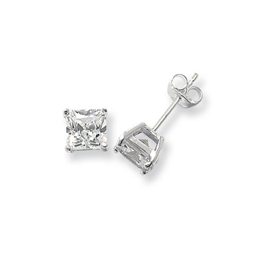 925 Silver 6mm Square Cubic Zirconia Earrings