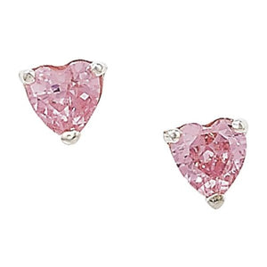 925 Silver Pink Cubic Zirconia Heart Earrings