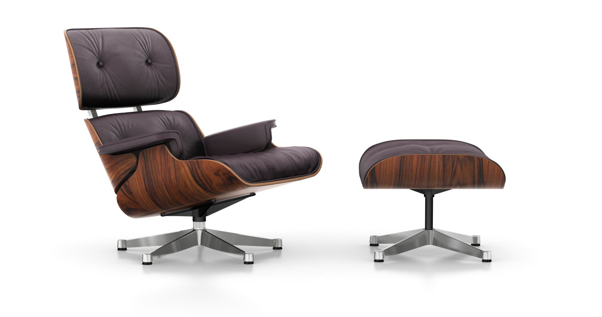 Eames Lounge Chair And Ottoman Santos Palisander, Plum Leather