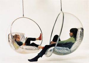 Eero Aarnio Bubble Chair, silver cushions