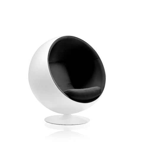 Eero Aarnio Ball Chair, white shell, black upholstery