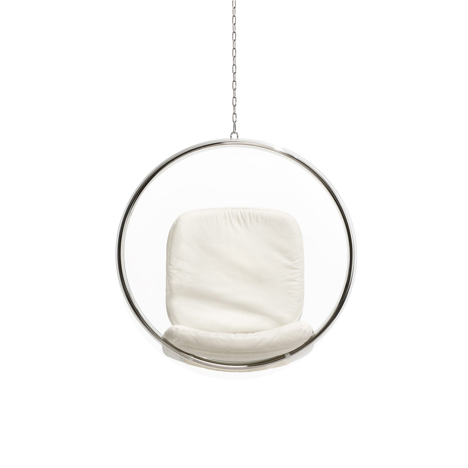 bubble chair white leather cushions