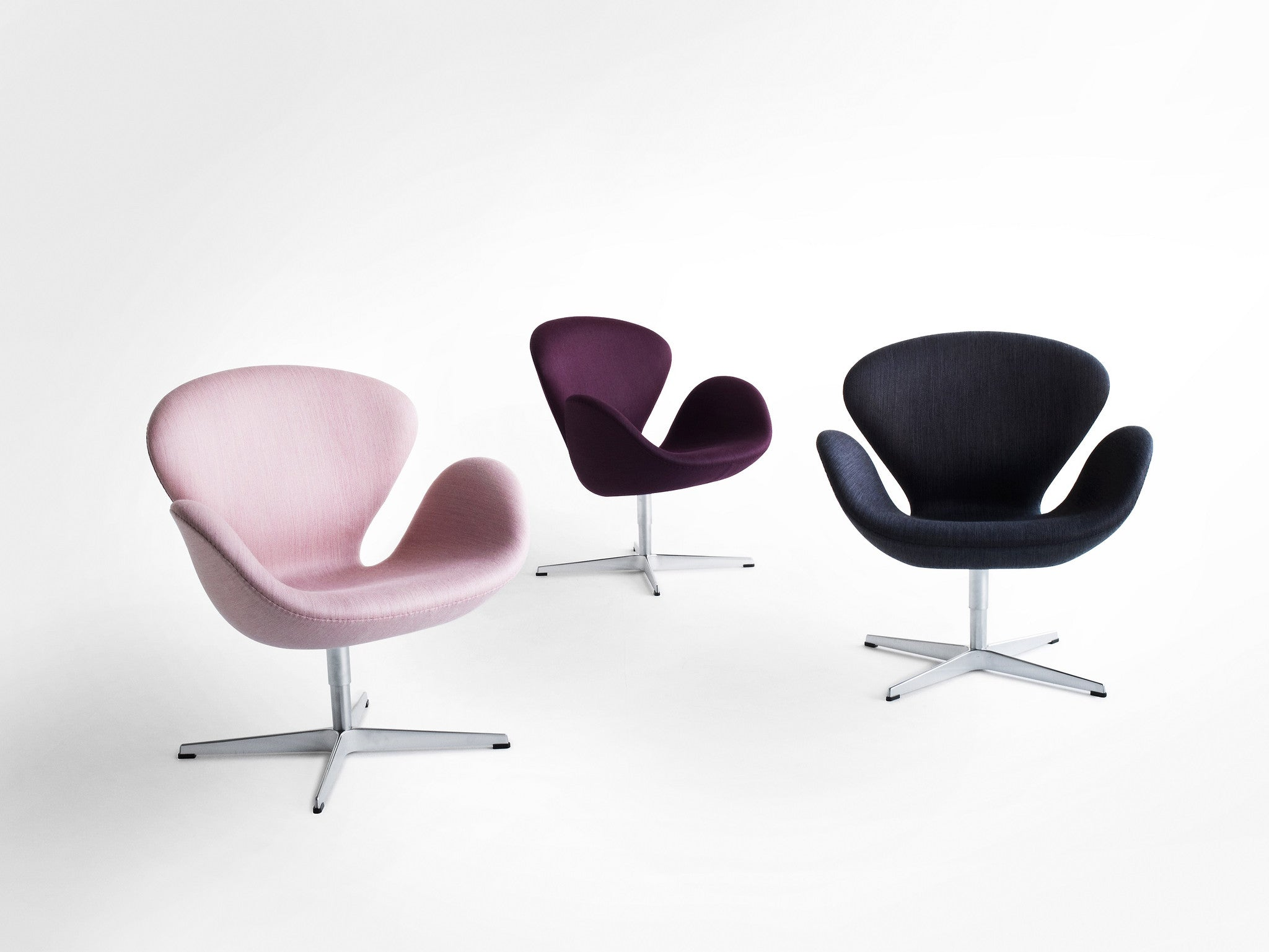 Arne Jacobsen Swan Chair, Pink, Purple And Navy Fabric