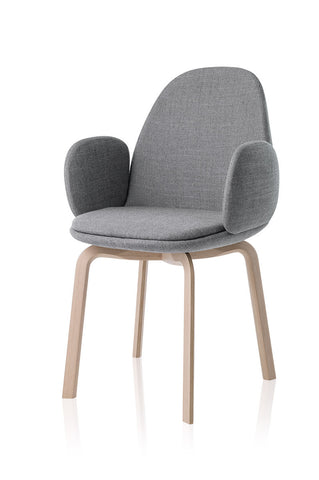 Sammen armchair, grey fabric, natural oak legs