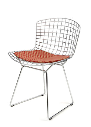 Bertoia Side Chair in chrome with a seat pad