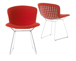 Bertoia Side Chair Fully Upholstered in red fabric