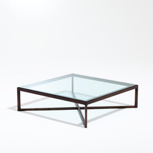 Krusin coffee table, oak stained walnut, clear glass top