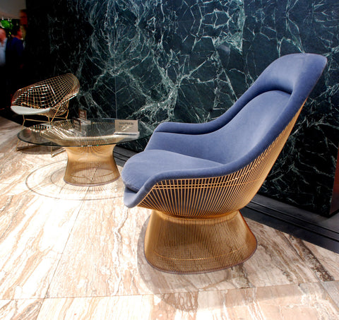 Platner Easy Chair and coffee table gold plated