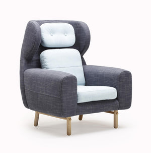 Ayo chair blue and grey fabric