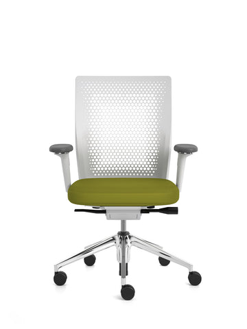 ID Air chair, polished base, 2D armrests, green Plano seat