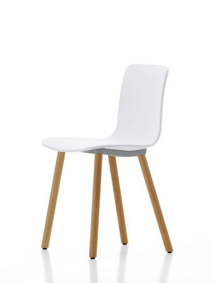 HAL Wood Chair, white shell, light oak legs