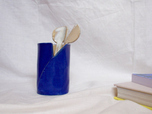 my hungry valentine-studio-ceramics-simple-vase-small-myosotis blue-utensils