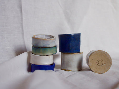 my hungry valentine-studio-ceramics-simple-tealight holders-small-stacked-raw bottom
