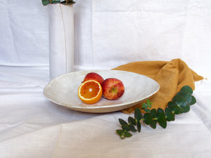 my hungry valentine-studio-ceramics-stripes-flared fruit bowl-cloudy white-size